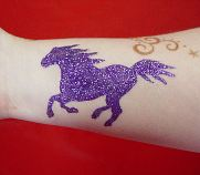 purple mustang glitter tattoo